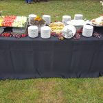 table of fruit and crackers